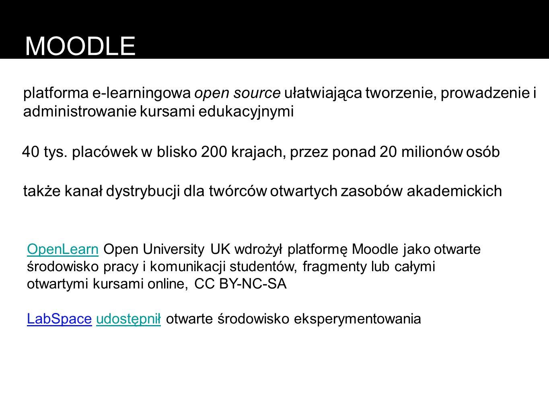 MOODLE platforma e-learningowa open source ułatwiająca tworzenie, prowadzenie i administrowanie kursami edukacyjnymi 40 tys. placówek w blisko 200 kra