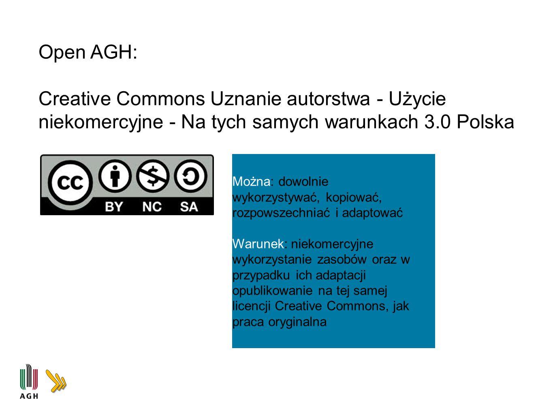 Open AGH: Creative Commons Uznanie autorstwa - Użycie niekomercyjne - Na tych samych warunkach 3.0 Polska Można: dowolnie wykorzystywać, kopiować, roz