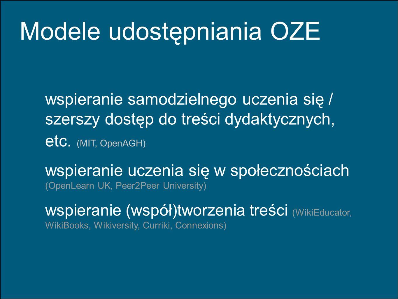 Modele udostępniania OZE wspieranie samodzielnego uczenia się / szerszy dostęp do treści dydaktycznych, etc. (MIT, OpenAGH) wspieranie uczenia się w s