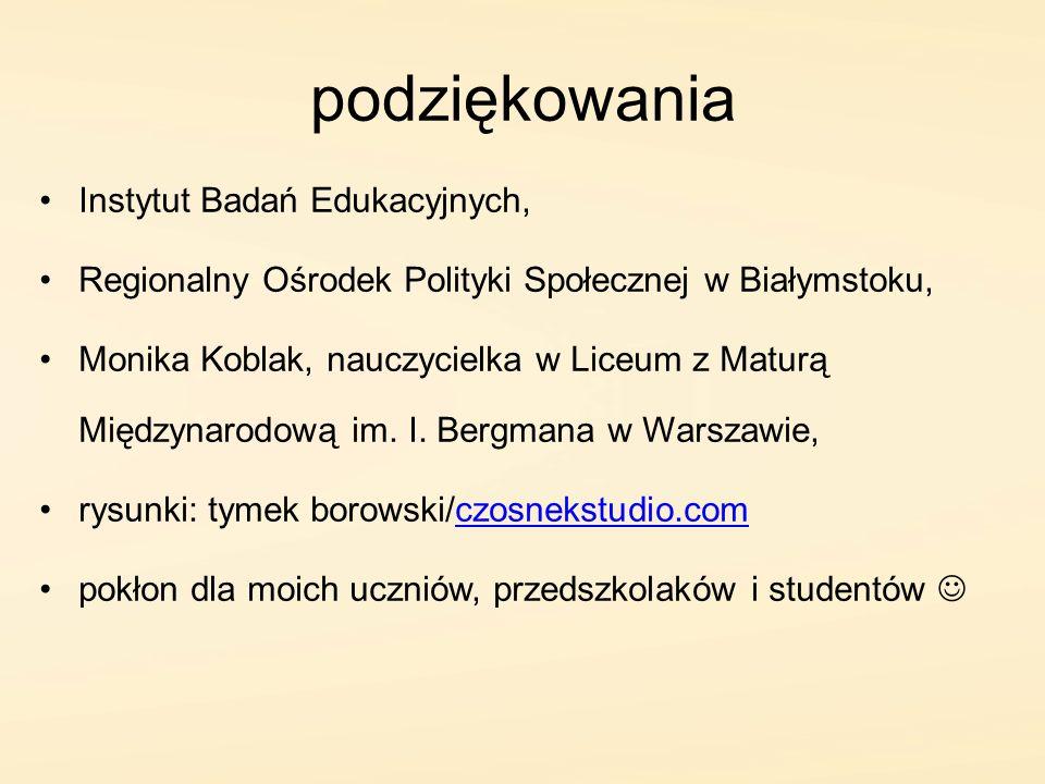 podziękowania Instytut Badań Edukacyjnych, Regionalny Ośrodek Polityki Społecznej w Białymstoku, Monika Koblak, nauczycielka w Liceum z Maturą Międzyn