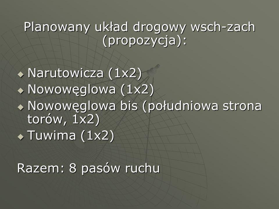 Planowany układ drogowy wsch-zach (propozycja): Narutowicza (1x2) Narutowicza (1x2) Nowowęglowa (1x2) Nowowęglowa (1x2) Nowowęglowa bis (południowa st