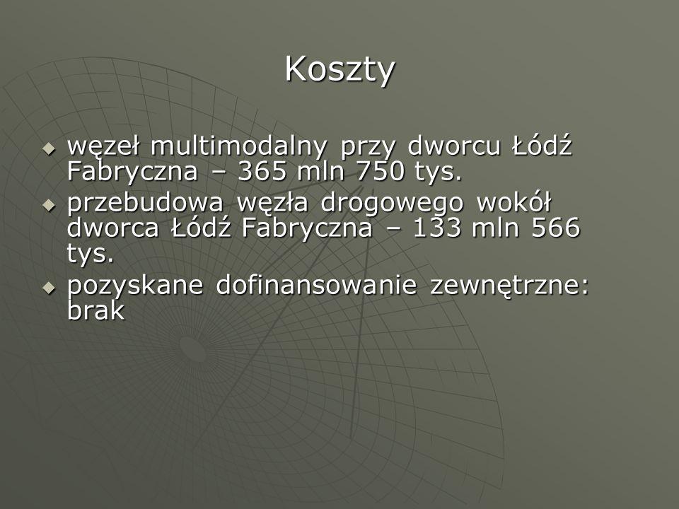 Koszty węzeł multimodalny przy dworcu Łódź Fabryczna – 365 mln 750 tys. węzeł multimodalny przy dworcu Łódź Fabryczna – 365 mln 750 tys. przebudowa wę