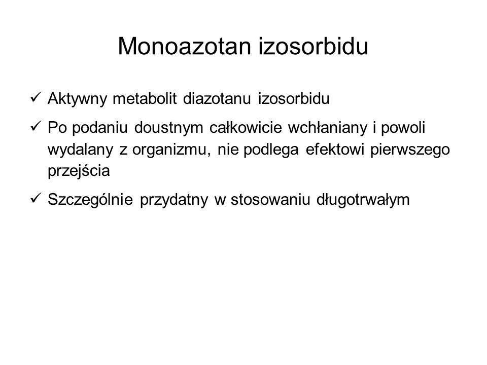 Monoazotan izosorbidu Aktywny metabolit diazotanu izosorbidu Po podaniu doustnym całkowicie wchłaniany i powoli wydalany z organizmu, nie podlega efek