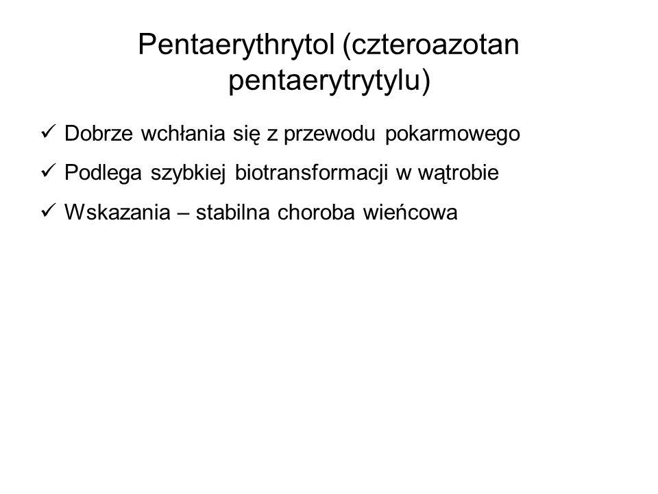 Pentaerythrytol (czteroazotan pentaerytrytylu) Dobrze wchłania się z przewodu pokarmowego Podlega szybkiej biotransformacji w wątrobie Wskazania – sta