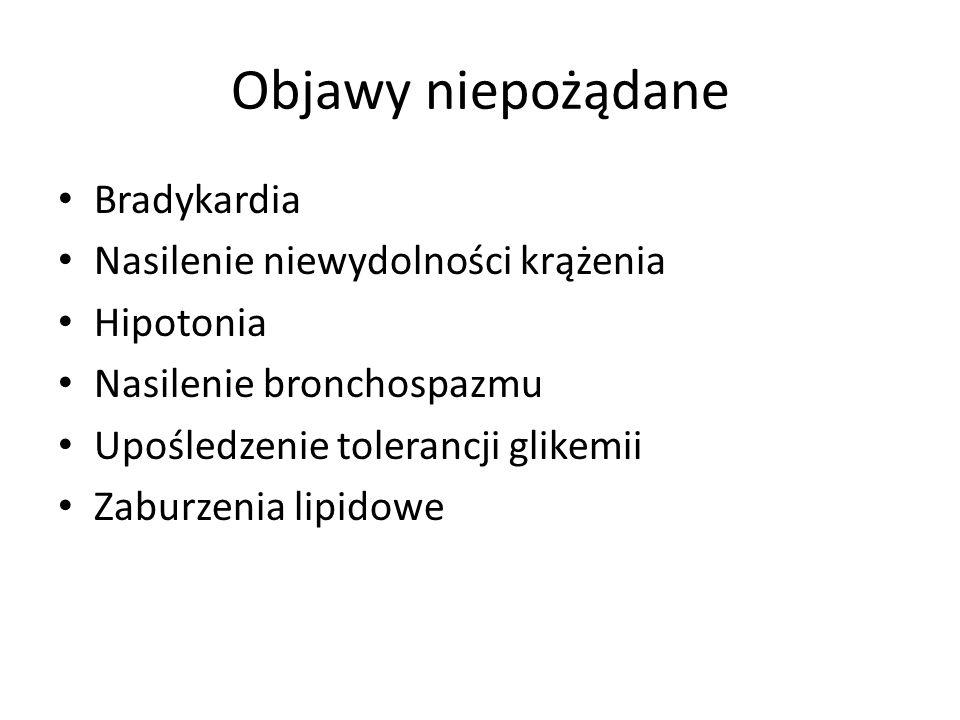 Objawy niepożądane Bradykardia Nasilenie niewydolności krążenia Hipotonia Nasilenie bronchospazmu Upośledzenie tolerancji glikemii Zaburzenia lipidowe