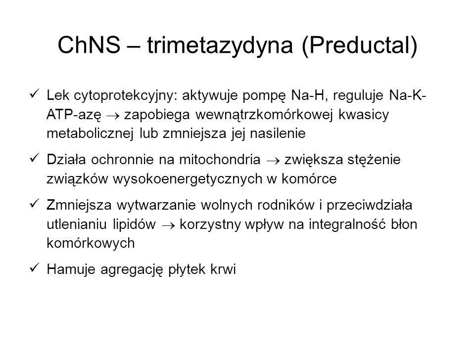 ChNS – trimetazydyna (Preductal) Lek cytoprotekcyjny: aktywuje pompę Na-H, reguluje Na-K- ATP-azę zapobiega wewnątrzkomórkowej kwasicy metabolicznej l