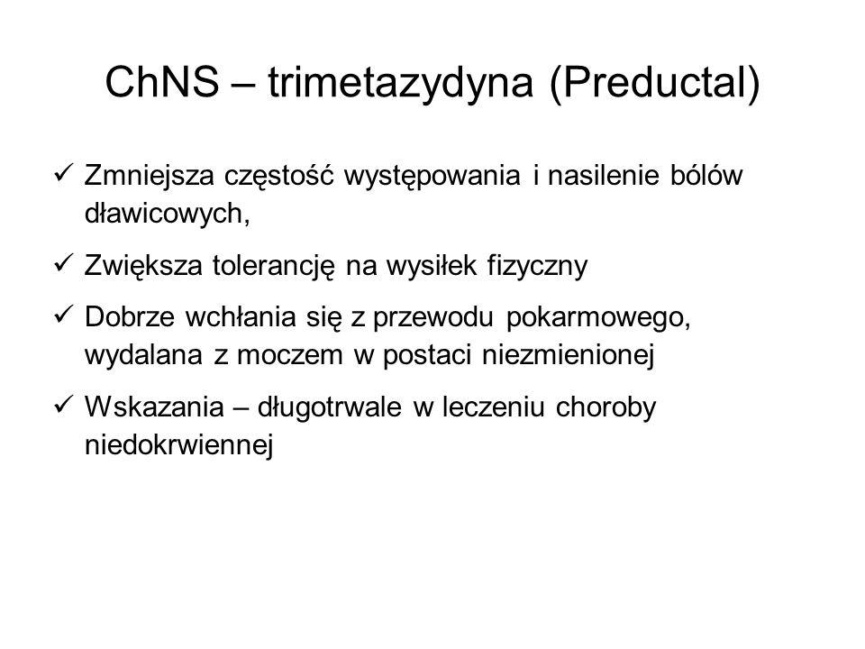 ChNS – trimetazydyna (Preductal) Zmniejsza częstość występowania i nasilenie bólów dławicowych, Zwiększa tolerancję na wysiłek fizyczny Dobrze wchłani