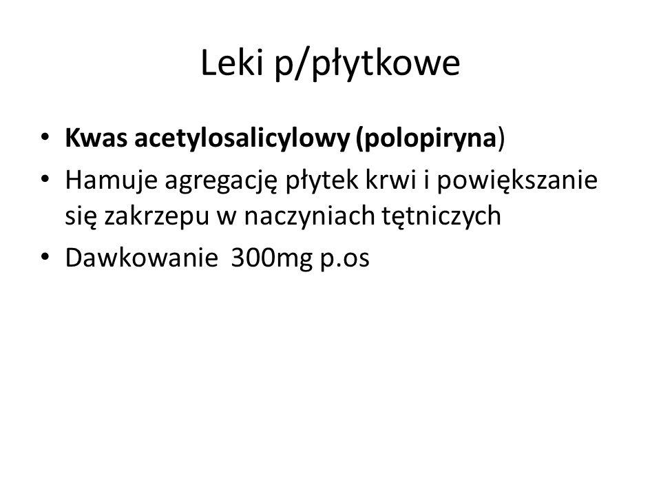 Leki p/płytkowe Kwas acetylosalicylowy (polopiryna) Hamuje agregację płytek krwi i powiększanie się zakrzepu w naczyniach tętniczych Dawkowanie 300mg