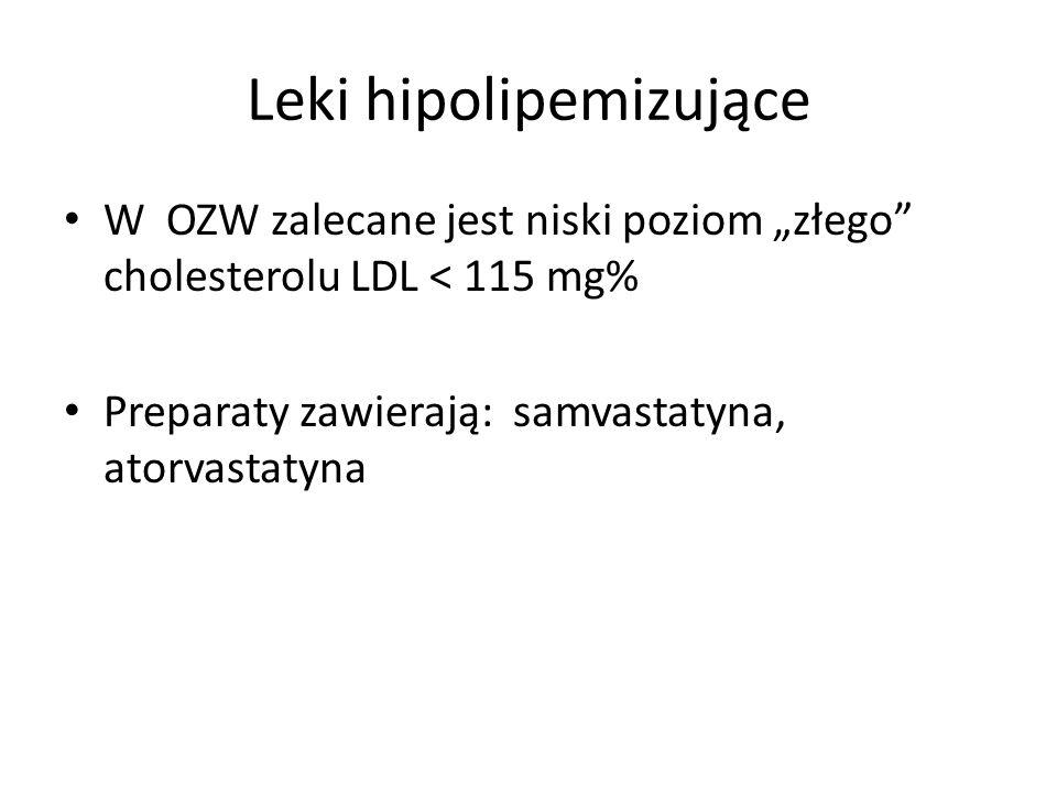 Leki hipolipemizujące W OZW zalecane jest niski poziom złego cholesterolu LDL < 115 mg% Preparaty zawierają: samvastatyna, atorvastatyna