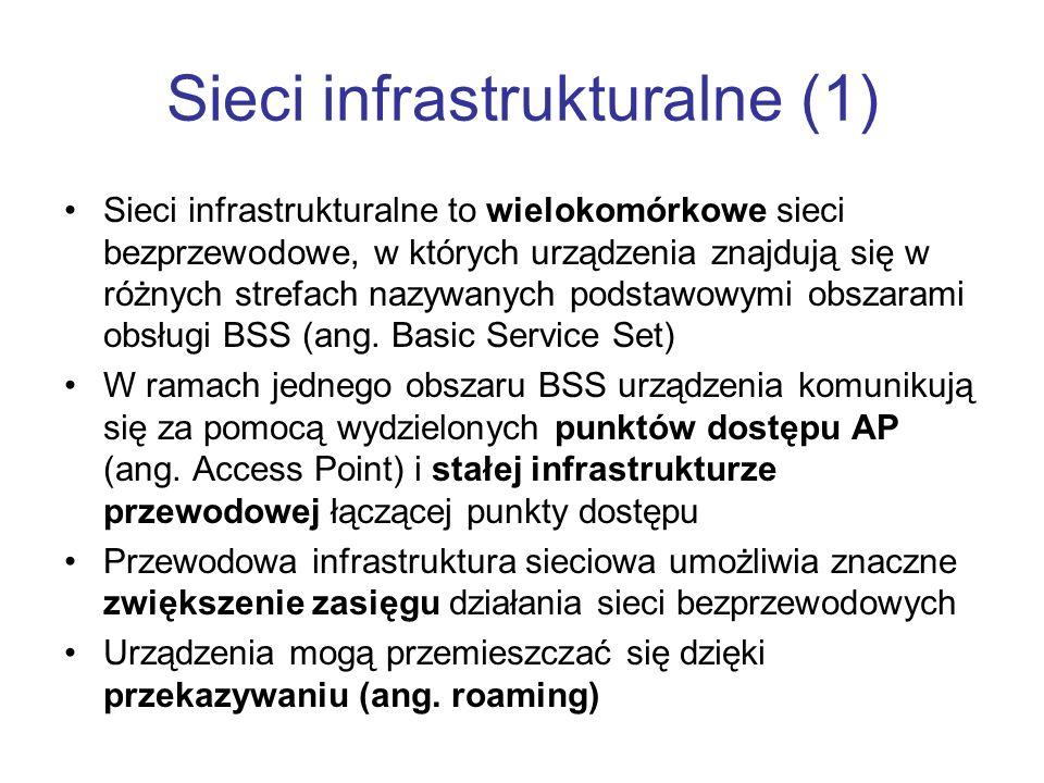 Sieci infrastrukturalne (1) Sieci infrastrukturalne to wielokomórkowe sieci bezprzewodowe, w których urządzenia znajdują się w różnych strefach nazywa