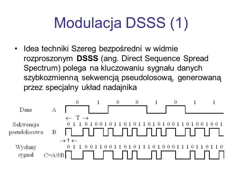Modulacja DSSS (1) Idea techniki Szereg bezpośredni w widmie rozproszonym DSSS (ang. Direct Sequence Spread Spectrum) polega na kluczowaniu sygnału da