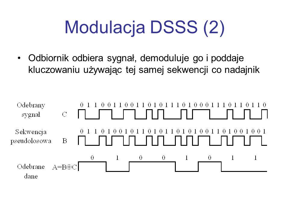 Modulacja DSSS (2) Odbiornik odbiera sygnał, demoduluje go i poddaje kluczowaniu używając tej samej sekwencji co nadajnik
