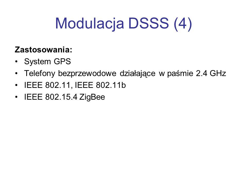 Modulacja DSSS (4) Zastosowania: System GPS Telefony bezprzewodowe działające w paśmie 2.4 GHz IEEE 802.11, IEEE 802.11b IEEE 802.15.4 ZigBee