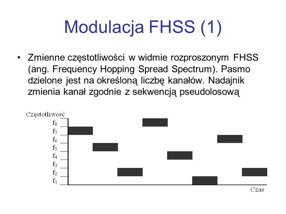 Modulacja FHSS (1) Zmienne częstotliwości w widmie rozproszonym FHSS (ang. Frequency Hopping Spread Spectrum). Pasmo dzielone jest na określoną liczbę