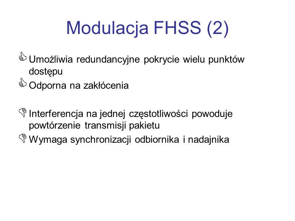 Modulacja FHSS (2) Umożliwia redundancyjne pokrycie wielu punktów dostępu Odporna na zakłócenia Interferencja na jednej częstotliwości powoduje powtór
