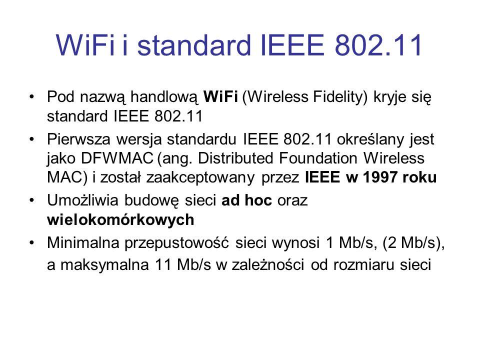 WiFi i standard IEEE 802.11 Pod nazwą handlową WiFi (Wireless Fidelity) kryje się standard IEEE 802.11 Pierwsza wersja standardu IEEE 802.11 określany