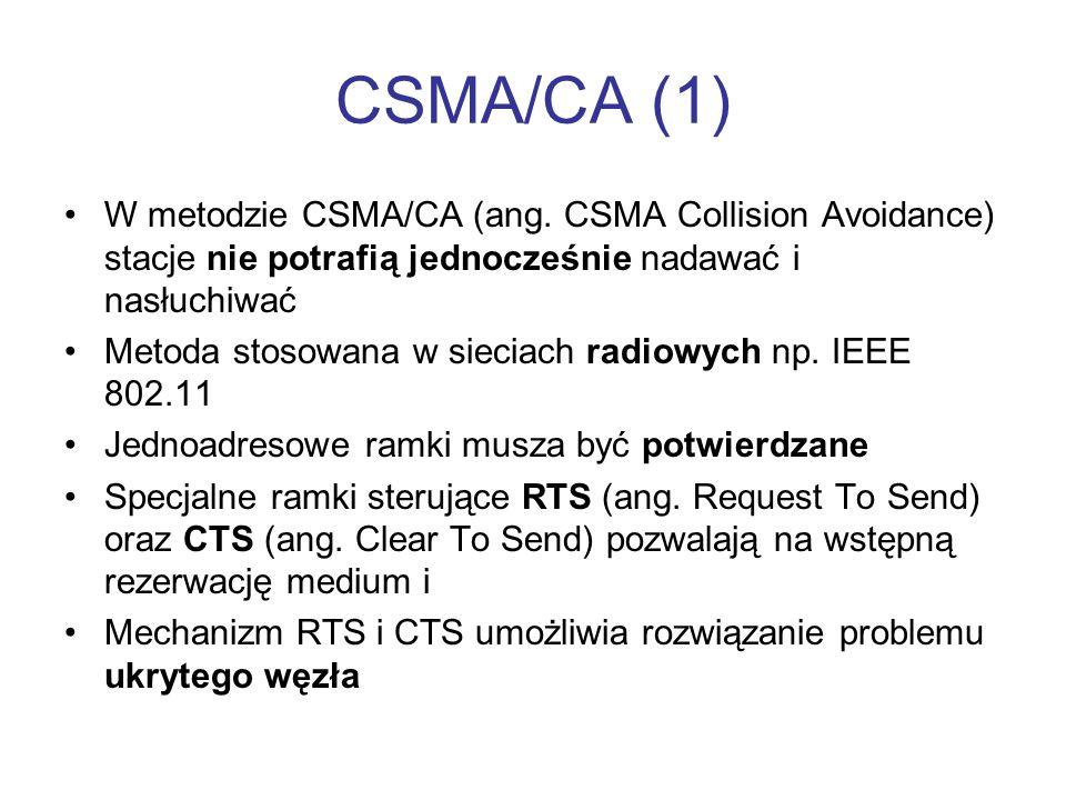 CSMA/CA (1) W metodzie CSMA/CA (ang. CSMA Collision Avoidance) stacje nie potrafią jednocześnie nadawać i nasłuchiwać Metoda stosowana w sieciach radi