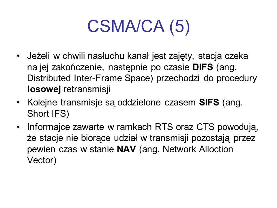 CSMA/CA (5) Jeżeli w chwili nasłuchu kanał jest zajęty, stacja czeka na jej zakończenie, następnie po czasie DIFS (ang. Distributed Inter-Frame Space)