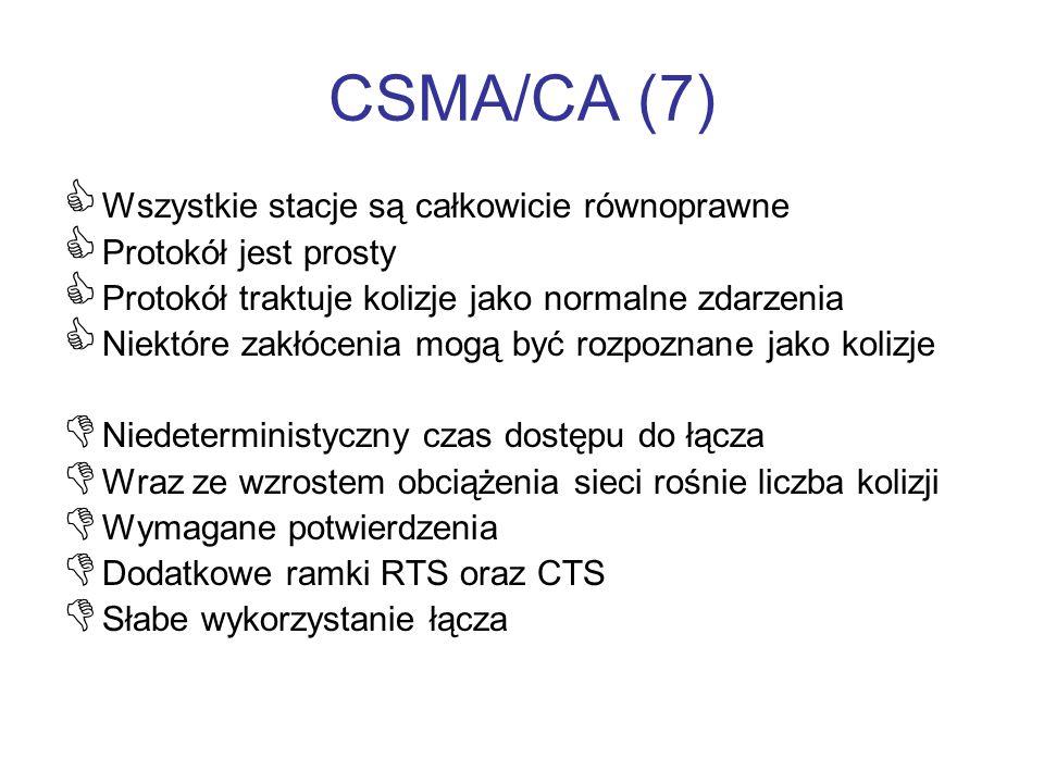 CSMA/CA (7) Wszystkie stacje są całkowicie równoprawne Protokół jest prosty Protokół traktuje kolizje jako normalne zdarzenia Niektóre zakłócenia mogą