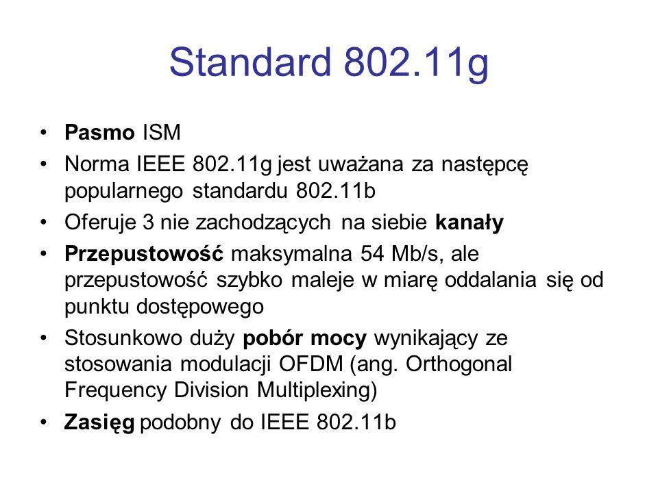 Standard 802.11g Pasmo ISM Norma IEEE 802.11g jest uważana za następcę popularnego standardu 802.11b Oferuje 3 nie zachodzących na siebie kanały Przep