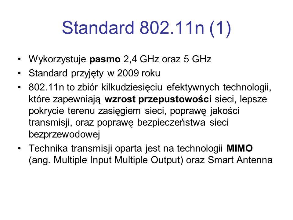 Standard 802.11n (1) Wykorzystuje pasmo 2,4 GHz oraz 5 GHz Standard przyjęty w 2009 roku 802.11n to zbiór kilkudziesięciu efektywnych technologii, któ