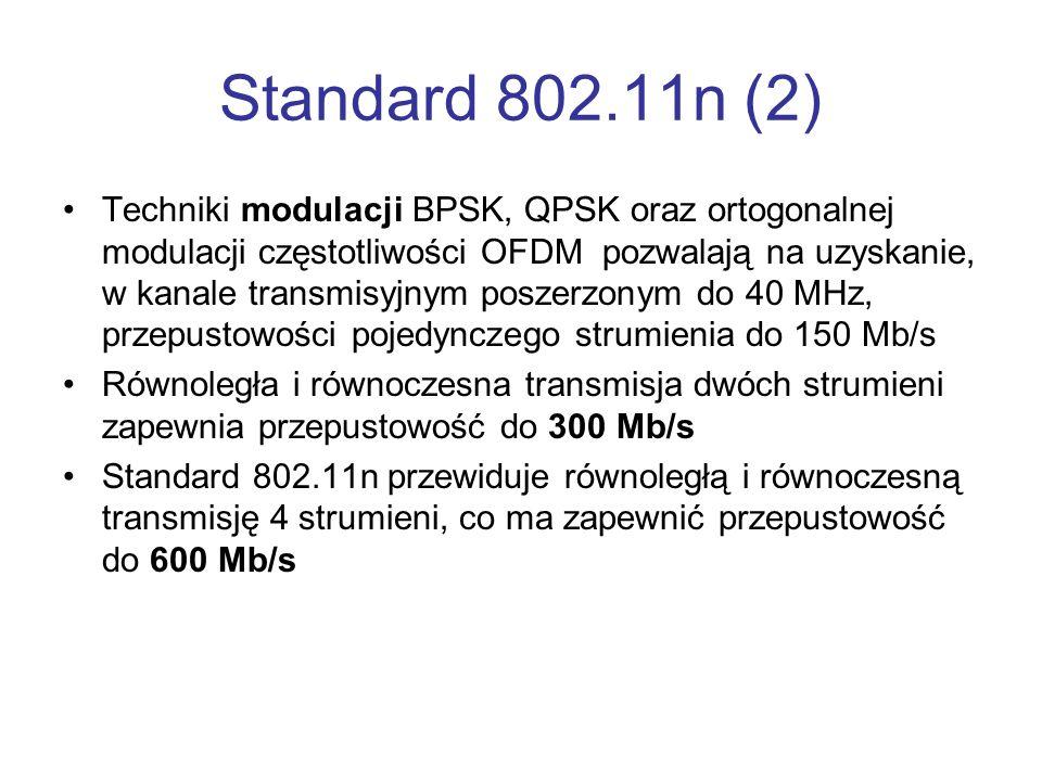 Standard 802.11n (2) Techniki modulacji BPSK, QPSK oraz ortogonalnej modulacji częstotliwości OFDM pozwalają na uzyskanie, w kanale transmisyjnym posz