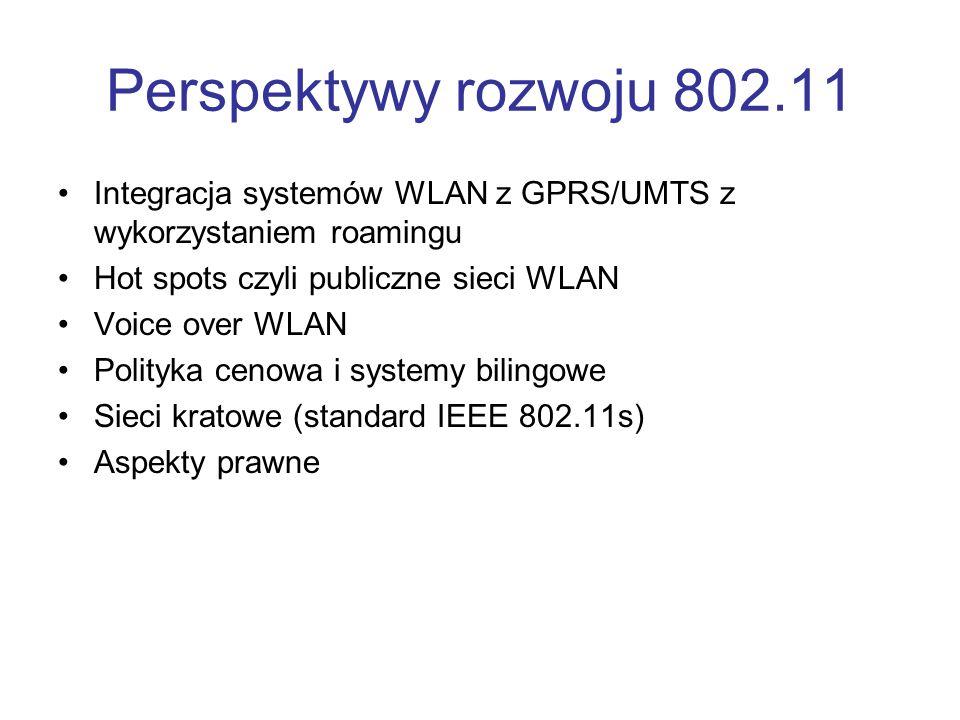 Perspektywy rozwoju 802.11 Integracja systemów WLAN z GPRS/UMTS z wykorzystaniem roamingu Hot spots czyli publiczne sieci WLAN Voice over WLAN Polityk