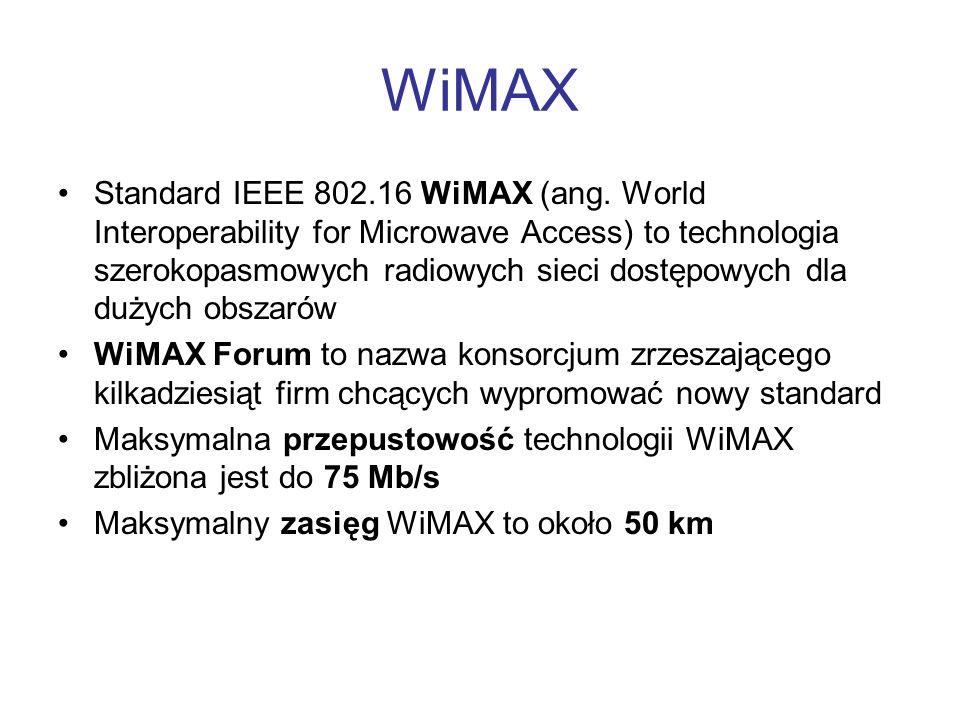 WiMAX Standard IEEE 802.16 WiMAX (ang. World Interoperability for Microwave Access) to technologia szerokopasmowych radiowych sieci dostępowych dla du