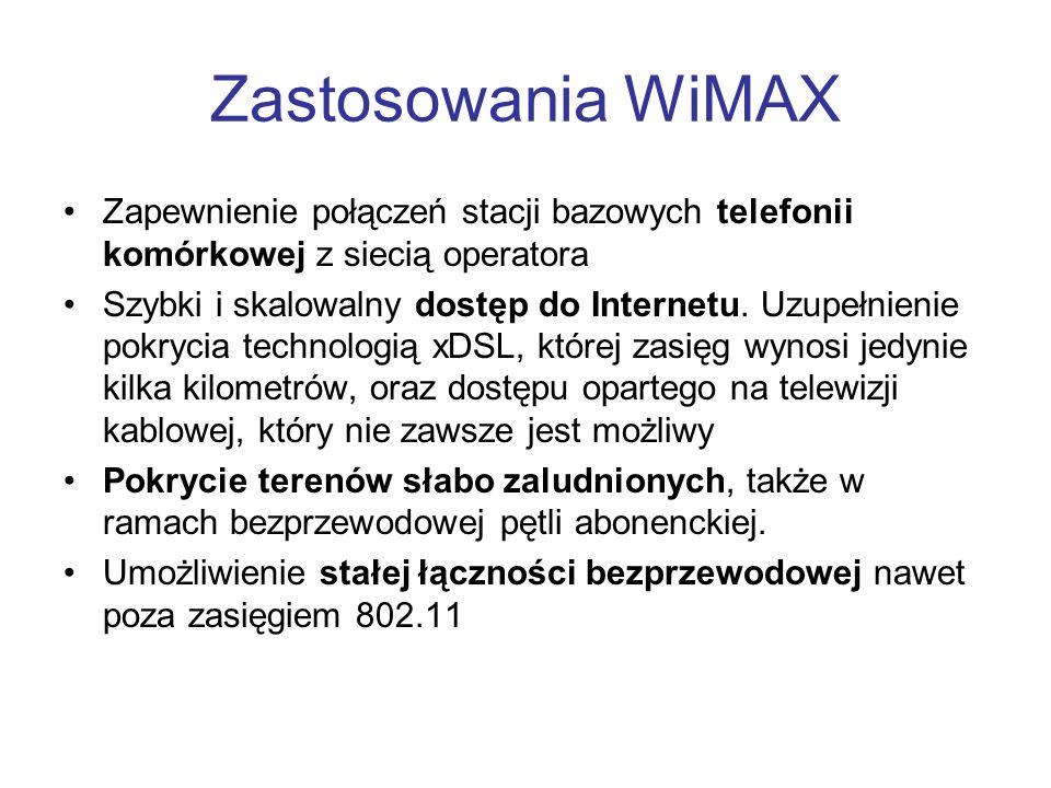 Zastosowania WiMAX Zapewnienie połączeń stacji bazowych telefonii komórkowej z siecią operatora Szybki i skalowalny dostęp do Internetu. Uzupełnienie