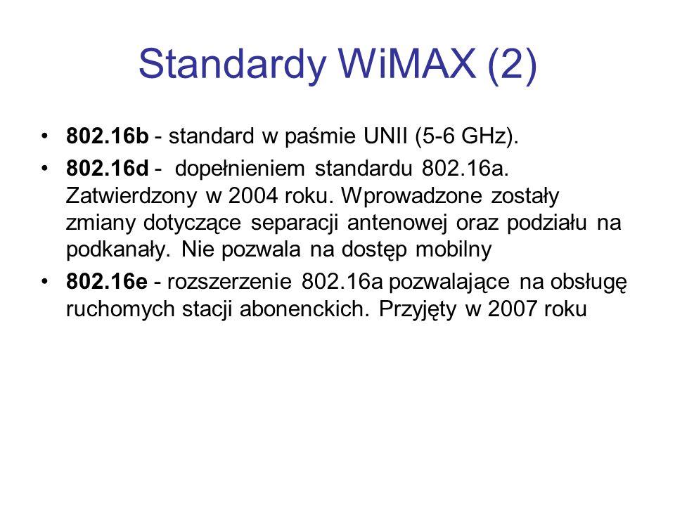 Standardy WiMAX (2) 802.16b - standard w paśmie UNII (5-6 GHz). 802.16d - dopełnieniem standardu 802.16a. Zatwierdzony w 2004 roku. Wprowadzone został