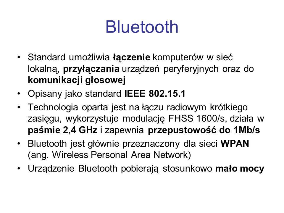 Bluetooth Standard umożliwia łączenie komputerów w sieć lokalną, przyłączania urządzeń peryferyjnych oraz do komunikacji głosowej Opisany jako standar