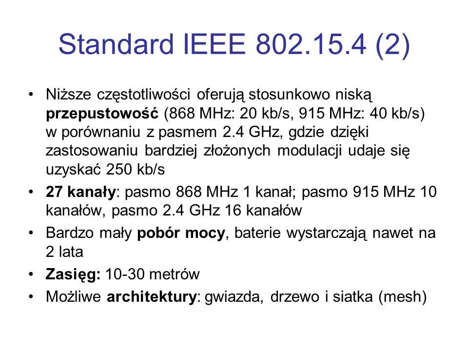 Standard IEEE 802.15.4 (2) Niższe częstotliwości oferują stosunkowo niską przepustowość (868 MHz: 20 kb/s, 915 MHz: 40 kb/s) w porównaniu z pasmem 2.4