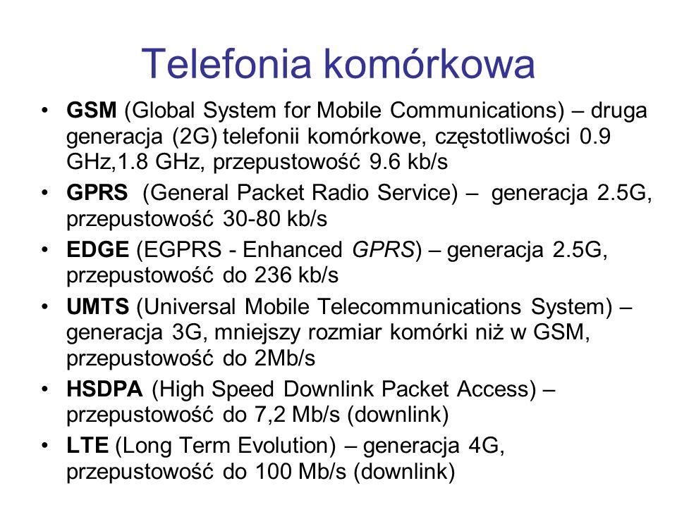 Telefonia komórkowa GSM (Global System for Mobile Communications) – druga generacja (2G) telefonii komórkowe, częstotliwości 0.9 GHz,1.8 GHz, przepust