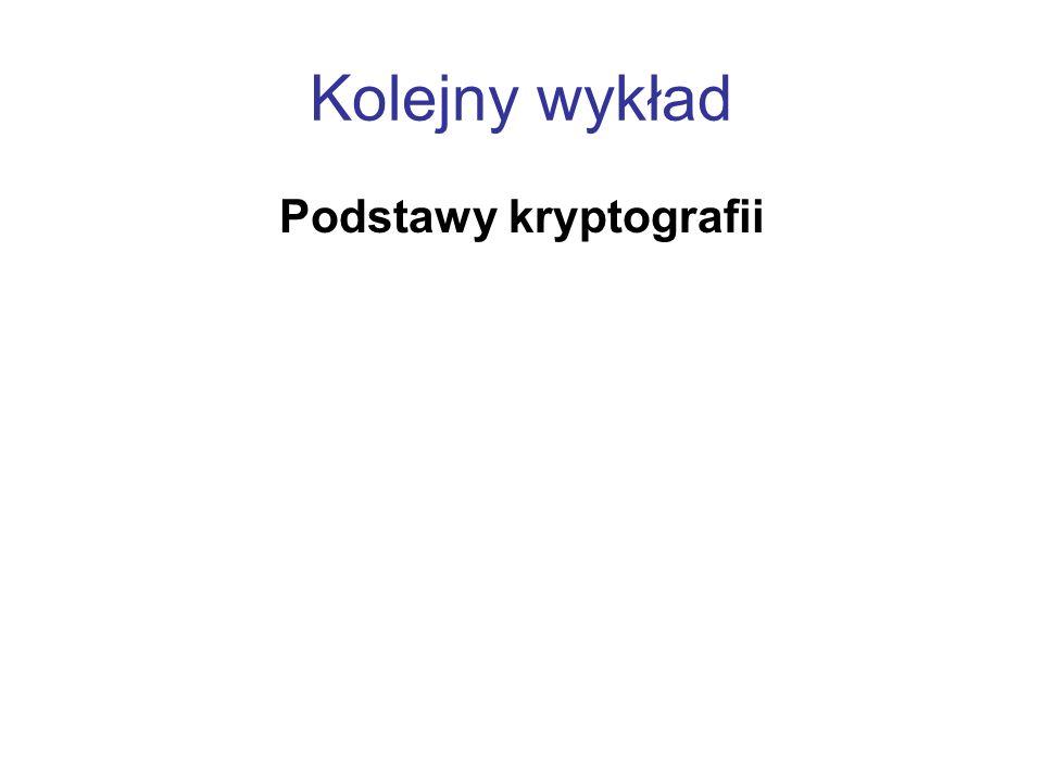 Kolejny wykład Podstawy kryptografii