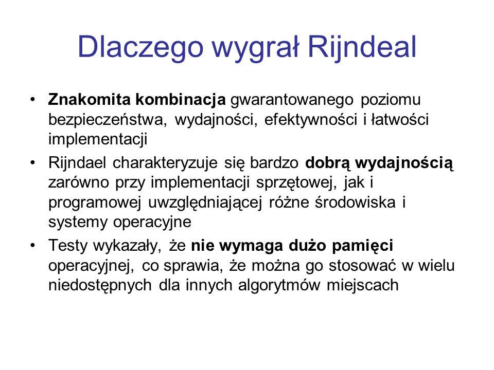 Dlaczego wygrał Rijndeal Znakomita kombinacja gwarantowanego poziomu bezpieczeństwa, wydajności, efektywności i łatwości implementacji Rijndael charak