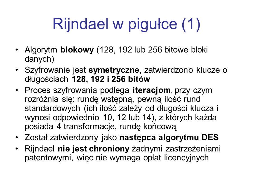 Rijndael w pigułce (1) Algorytm blokowy (128, 192 lub 256 bitowe bloki danych) Szyfrowanie jest symetryczne, zatwierdzono klucze o długościach 128, 19