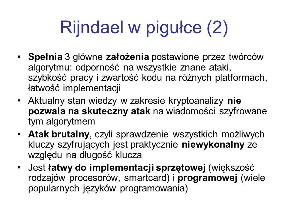 Rijndael w pigułce (2) Spełnia 3 główne założenia postawione przez twórców algorytmu: odporność na wszystkie znane ataki, szybkość pracy i zwartość ko