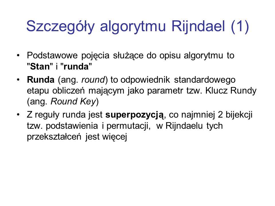 Szczegóły algorytmu Rijndael (1) Podstawowe pojęcia służące do opisu algorytmu to