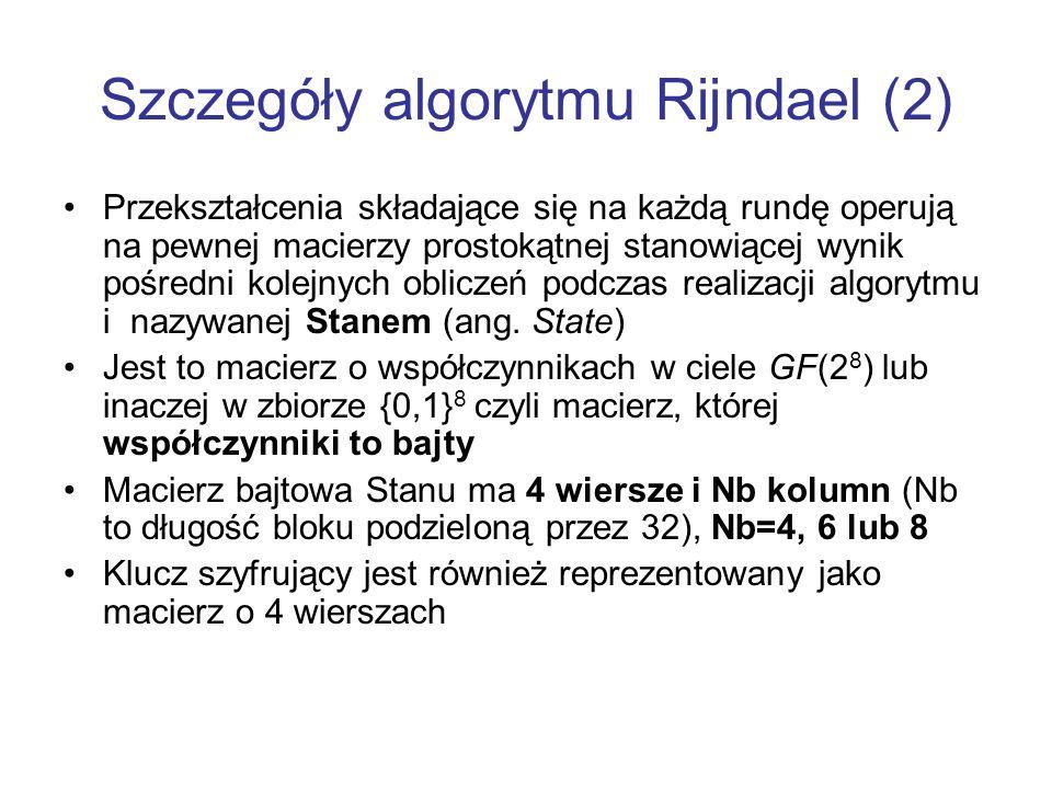 Szczegóły algorytmu Rijndael (2) Przekształcenia składające się na każdą rundę operują na pewnej macierzy prostokątnej stanowiącej wynik pośredni kole