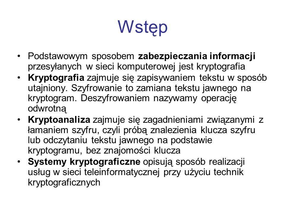 Wstęp Podstawowym sposobem zabezpieczania informacji przesyłanych w sieci komputerowej jest kryptografia Kryptografia zajmuje się zapisywaniem tekstu