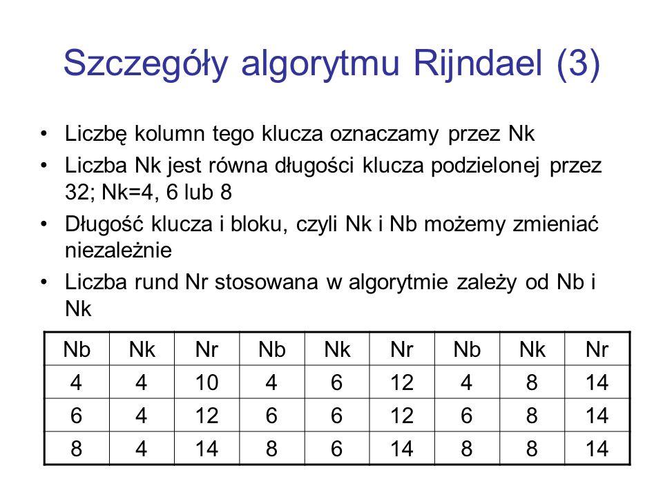 Szczegóły algorytmu Rijndael (3) Liczbę kolumn tego klucza oznaczamy przez Nk Liczba Nk jest równa długości klucza podzielonej przez 32; Nk=4, 6 lub 8