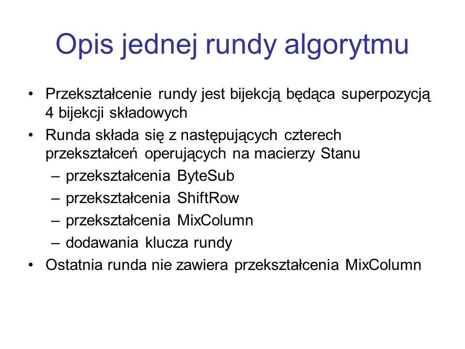 Opis jednej rundy algorytmu Przekształcenie rundy jest bijekcją będąca superpozycją 4 bijekcji składowych Runda składa się z następujących czterech pr