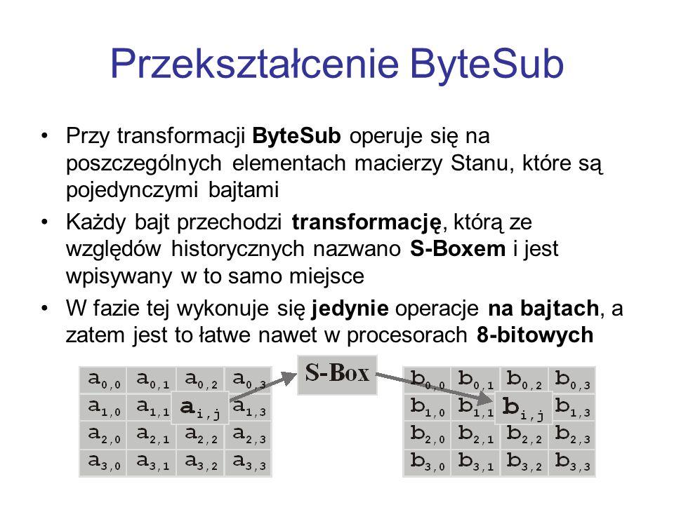 Przekształcenie ByteSub Przy transformacji ByteSub operuje się na poszczególnych elementach macierzy Stanu, które są pojedynczymi bajtami Każdy bajt p