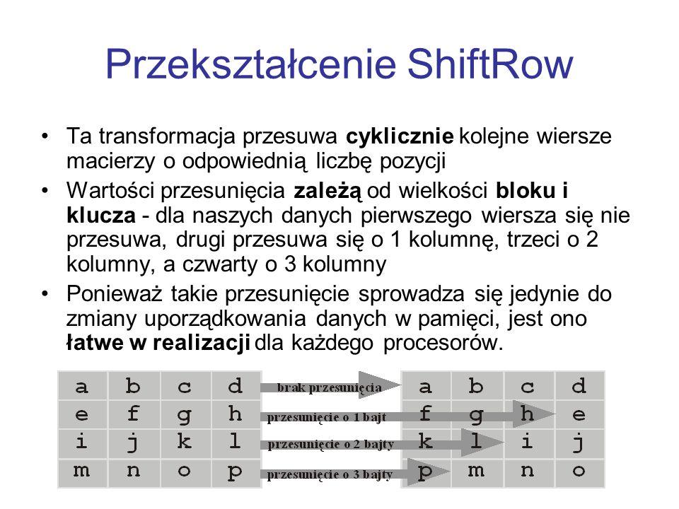 Przekształcenie ShiftRow Ta transformacja przesuwa cyklicznie kolejne wiersze macierzy o odpowiednią liczbę pozycji Wartości przesunięcia zależą od wi