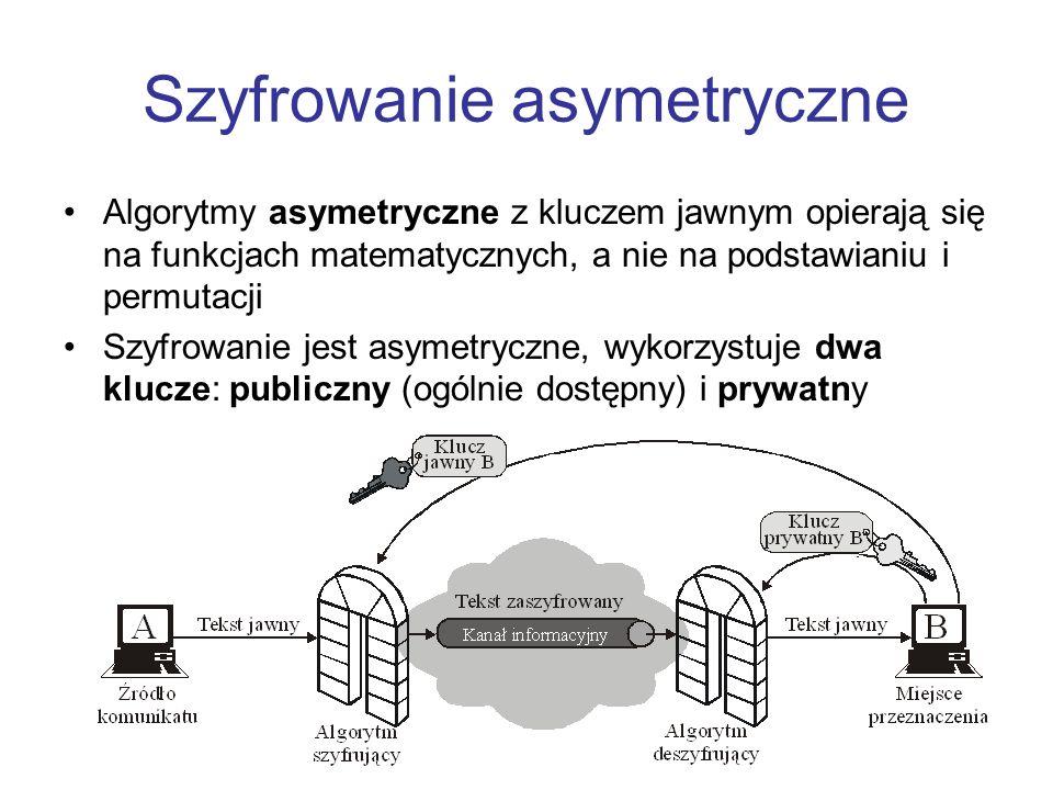 Szyfrowanie asymetryczne Algorytmy asymetryczne z kluczem jawnym opierają się na funkcjach matematycznych, a nie na podstawianiu i permutacji Szyfrowa