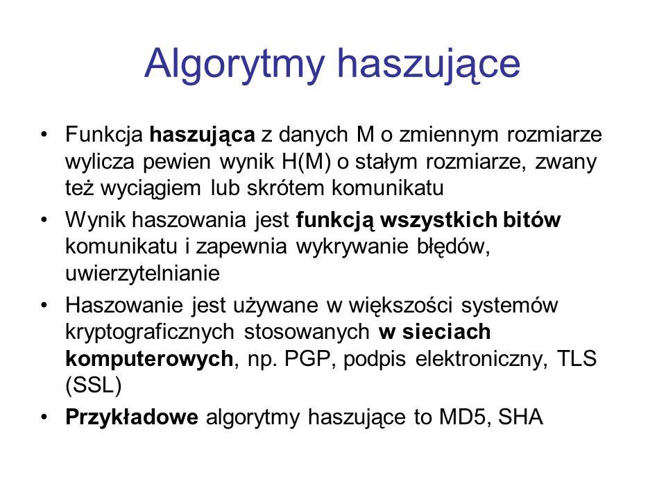 Algorytmy haszujące Funkcja haszująca z danych M o zmiennym rozmiarze wylicza pewien wynik H(M) o stałym rozmiarze, zwany też wyciągiem lub skrótem ko