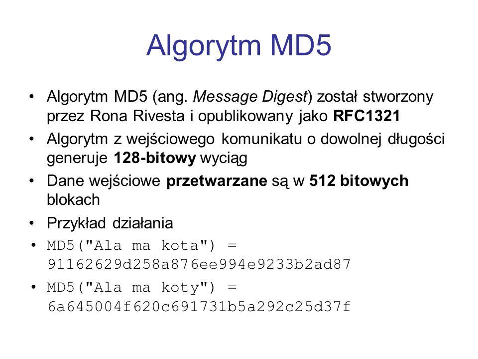 Algorytm MD5 Algorytm MD5 (ang. Message Digest) został stworzony przez Rona Rivesta i opublikowany jako RFC1321 Algorytm z wejściowego komunikatu o do