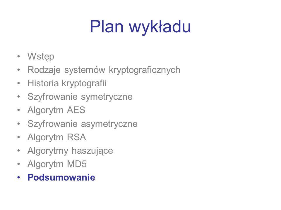 Plan wykładu Wstęp Rodzaje systemów kryptograficznych Historia kryptografii Szyfrowanie symetryczne Algorytm AES Szyfrowanie asymetryczne Algorytm RSA