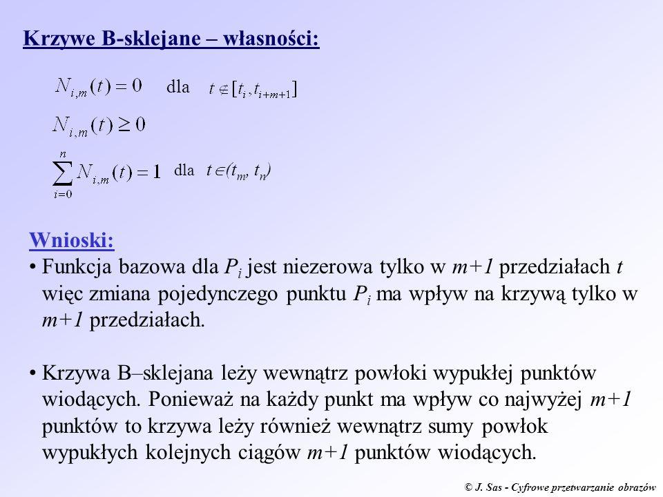 © J. Sas - Cyfrowe przetwarzanie obrazów Krzywe B-sklejane – własności: dla dla t (t m, t n ) Wnioski: Funkcja bazowa dla P i jest niezerowa tylko w m