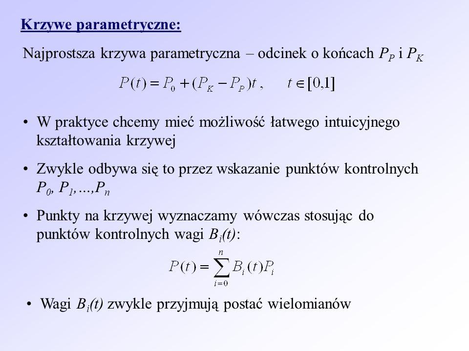 Krzywe parametryczne: Najprostsza krzywa parametryczna – odcinek o końcach P P i P K W praktyce chcemy mieć możliwość łatwego intuicyjnego kształtowan